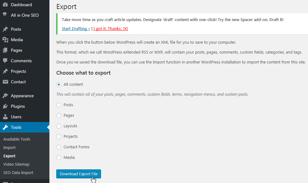 WordPress DataBase Export
